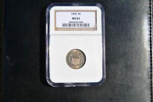 1868 Shield Nickel NGC MS63