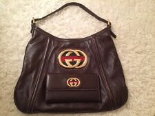 Authentic Gucci Brown Leather Britt Bag & Gucci Wallet Hobo Bag Designer Bag