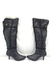 Naughty Monkey Womens Black Leather & faux fur Knee-High heel Boots Shoes 8