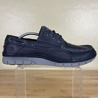 Skechers Boat Shoes Mens Size 11.5 Black Leather 64024