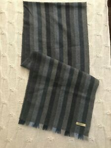 Magee 1866 wool/cashmere Plaid Auburn Navy Brown Scarf 59x 14.5 inches