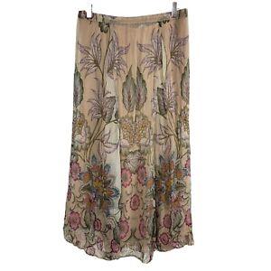 Soft Surroundings Petites Jazmin Skirt Maxi Floral Boho Flowy Chiffon Womens PS
