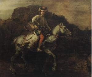 1942 Rembrandt Van Rijn The Polish Rider Dutch Romanticism Vintage Litho #S675