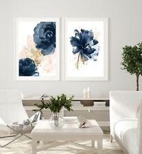 Set of 2 Wall Art Prints Indigo Blue, Blush Pink, Gold Watercolour Flowers