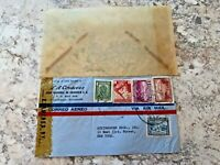Vintage Postage Envelope 1943 - Ecuador to New York City - Rare Marks/Stamps