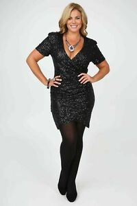 Black  Sequin Dress Wrap over Mini  John Zack