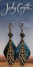 Jody Coyote Earrings JC1015 New 9787 blue green gold dangle made USA