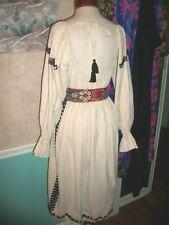 Vintage 70S Ethnic Romania Romanian Hippie Boho Renaissance Dress Embroid M L Xl