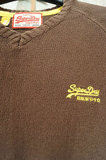 "SUPERDRY Cotton Jumper S 35"" Chest V-Neck Brown Sweater Raglan Sleeve"