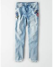 American eagle women's jeans mom embroidered indigo raw hem sizes 0 2 6 8