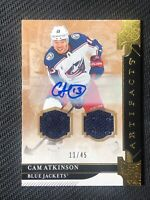 2019-20 UD ARTIFACTS CAM ATKINSON DUAL MATERIALS AUTOGRAPH AUTO GOLD #ed 11/45