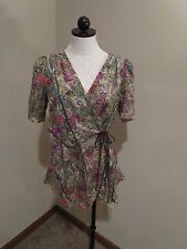 Burning Torch 100% silk wrap top tunic shirt blouse sz small printed