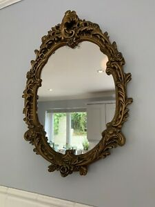 Vintage Antique Gold Oval Mirror French Rococo Baroque Style Gilt Ornate