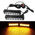 2x Amber 6 LED Light Emergency Warning Strobe Flashing Yellow Bar Hazard Grill