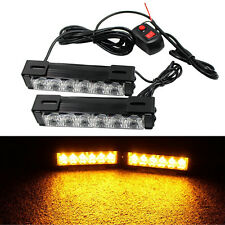 Amber 2x6 LED Light Emergency Warning Strobe Flashing Yellow Bar Hazard Grill
