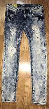 Machine Jeans Distressed Crystal Rhinestone Skinny Jeans Acid Wash Sz 5 27