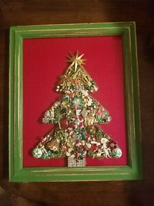 Framed Jewelry Art  Mixed Media Vintage and Contemporary Christmas Tree