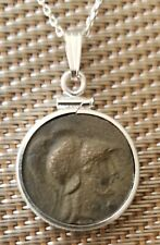 Helmeted Goddess Athena Authentic Ancient Greek Coin Pendant 925 Silver Necklace