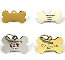 Laser Engraved Bone Pet ID Dog Tags, BOLD Text, Both Sides personalised, 2 sizes