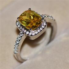 Exquisite Yellow Topaz Zircon Princess Wedding Ring White Gold Jewelry Size 5-11