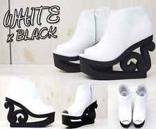 Jeffrey Campbell Skate art high heel bootie open toe white and black size 36