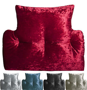 Luxury Crushed Velvet Back & Lumbar Support Cushion 5 Colours MADE IN UK