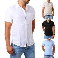 Herren Leinenhemd Kurzarm Slim Fit Solid Color Shirt shirt Tops Leinenhemd