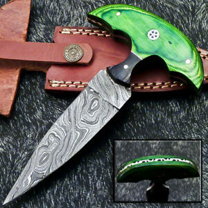 """Authentic HAND FORGED DAMASCUS 6.5"""" DAGGER KNIFE - HARD WOOD HANDLE- WD-9277"""