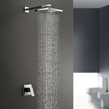 "Best Bathroom Wall Mounted 8""Square Bath Rain Shower Set Faucet Mixer Tap Chrome"