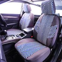 Universal Premium Linen Car Seat Covers Water Blue Airbag Fit Split Rear 40/60