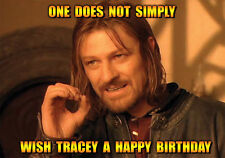Lord Boromir Of The Rings Meme Happy Birthday PERSONALISED Sean Bean spoof Card