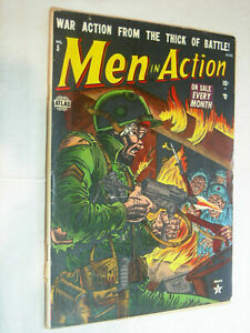 Men in Action #5 G classic fiery war cover don't miss out Atlas Look