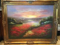 """Huge 4'9"""" x 3""""9.5"""" ~ Signed Oil on Canvas Painting in gorgeous Gold Frame"""