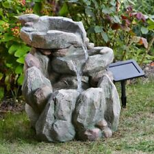 Solar Powered Rock Fall Cascade Fountain Outdoor Water Feature