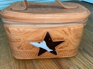 Vintage Western Hand Tooled Leather Makeup Travel Bag Box Case Lone Star Lining
