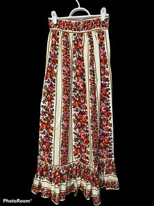 Vintage Lanz Originals Red Floral Maxi Skirt High Rise Pleated Ruffle A Line