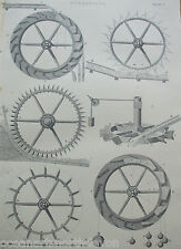 ANTIQUE PRINT C1880'S HYDRAULICS ENGRAVING ILLUSTRATED WORKINGS INDUSTRIAL ART