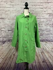 Lands End Womens Green Spring Button Front Trench Coat Size Large