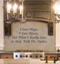 I Love Hugs Kitchen inspirational wall quote vinyl art decal sticker 12x27.8