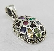 MULTIGEM MARCASITE PENDANT 925 STERLING SILVER ARTISAN JEWELRY COLLECTION R647A