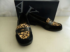 Anne Klein New Womens Lizbeth Black Multi Suede Loafers 6 M Shoes