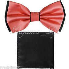 Two Tone Black CORAL Bowtie And BLACK Handkerchief Set Wedding Prom