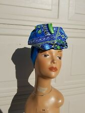 Blue And Green Dashiki Head wrap;African Headwrap; Headtie ; African Fabric