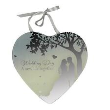 Reflections Mirror Glass Hanging Heart Plaque Gift – Wedding Day