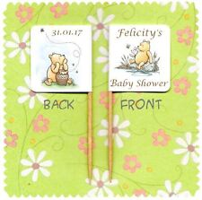 20 PERSONALISED WINNIE THE POOH BABY SHOWER CUP CAKE FLAG Topper Party Food