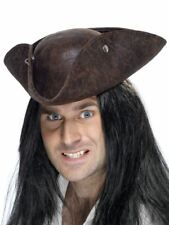 Smiffys Pirate Tricorn Hat, Brown, Broken Leather Look - Unisex - One Size