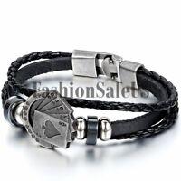 Men's Women's Unique Style Poker Card Leather Bracelet Wristband Bangle Cuff