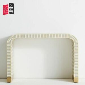 Bone Inlay Optical Design Waterfall Console Table Grey (MADE TO ORDER