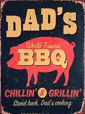 DAD'S BBQ CHILLIN & GRILLIN  Retro Metal Plaque/Sign, Pub, Bar, Man Cave,