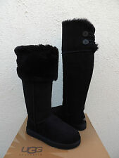 UGG BLACK OVER THE KNEE BAILEY BUTTON SHEEPSKIN BOOTS, US 10/ EUR 41 ~ NEW
